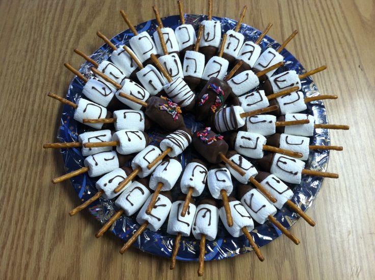 Channuka marshmallow dreidels !! | Hanukkah חנוכה | Pinterest