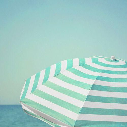 Beach Umbrella in Turquoise Stripes