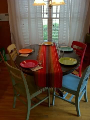 Painted kitchen table and chairs chelsea 39 s thingys for Different color chairs