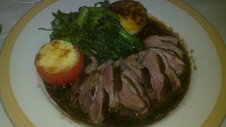 Grilled duck breast with broccoli di rabe, polenta; fonduta stuffed tomato; balsamic sauce - Vinci (Restaurant Week)