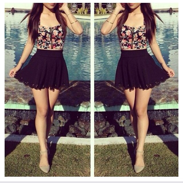 high waisted skirt and crop top clothes and shoess
