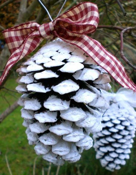 Diy pine cone christmas decoration pine cones pinterest for Homemade christmas decorations using pine cones