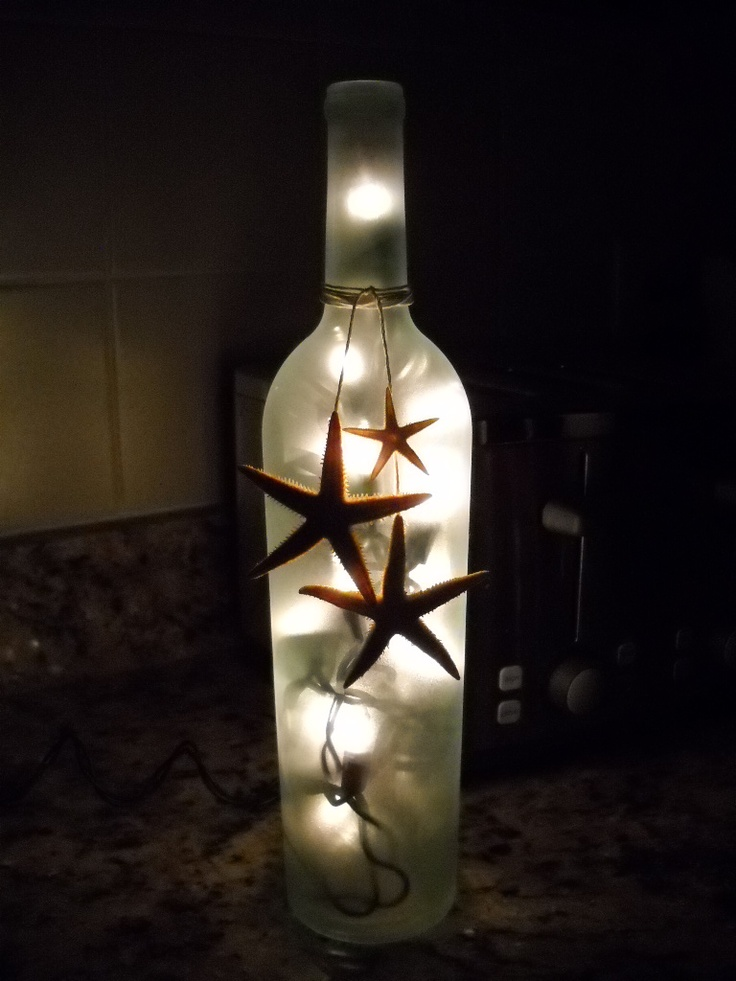 Wine bottle light with sea stars diy crafts glass for Light up wine bottles