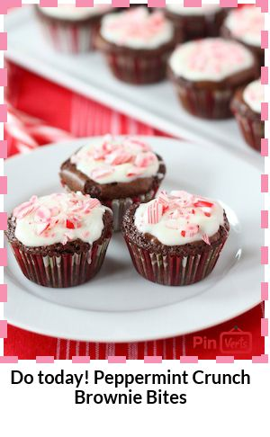 Peppermint Crunch Brownie Bites... Chocolate brownie bites dipped in ...