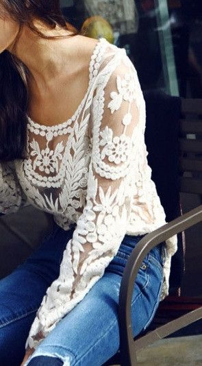 lace shirt with jeans