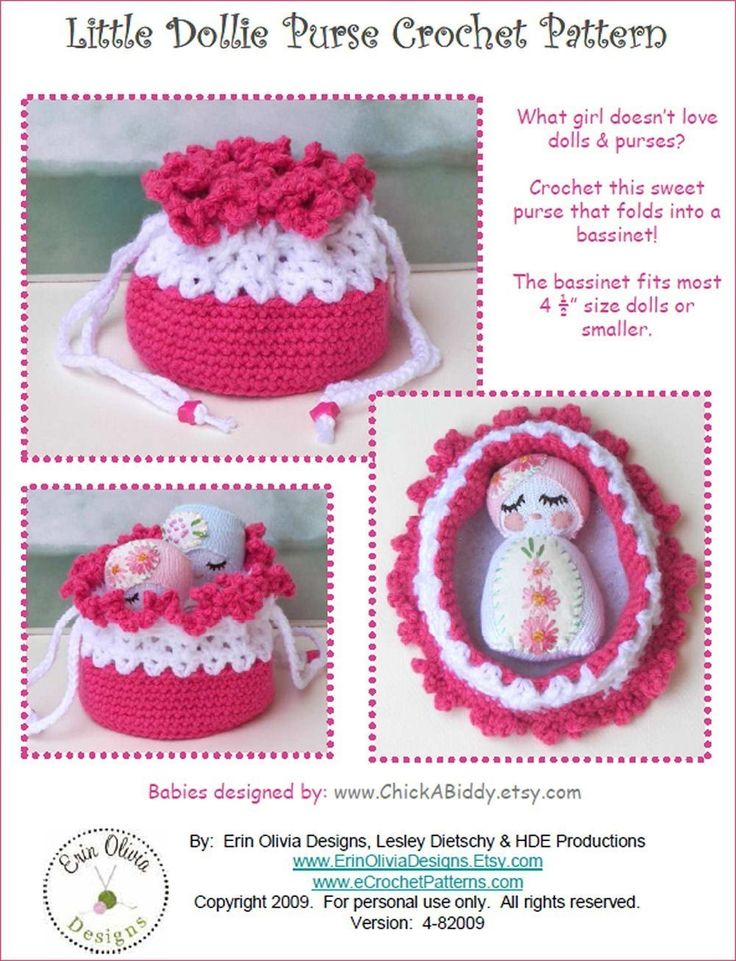 doll cradle purse Crochet Baby & Kids Pinterest