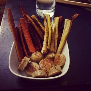 carrot and parsnip fries with chicken sausage