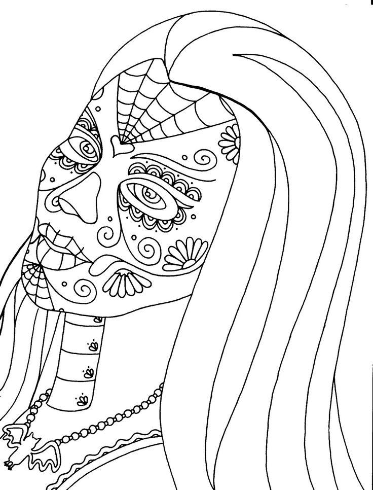 dia de los muertos flowers coloring sheets coloring pages