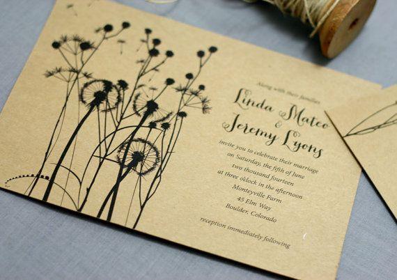 dandelion wedding invitation just dandy by deaandbean