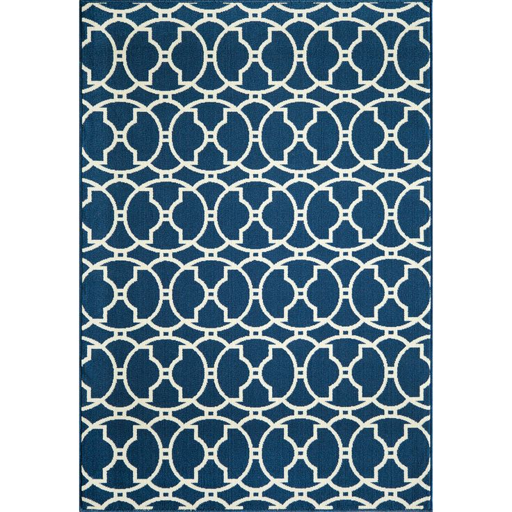 Moroccan Tile Navy Indoor Outdoor Rug 7 10 x 10 10