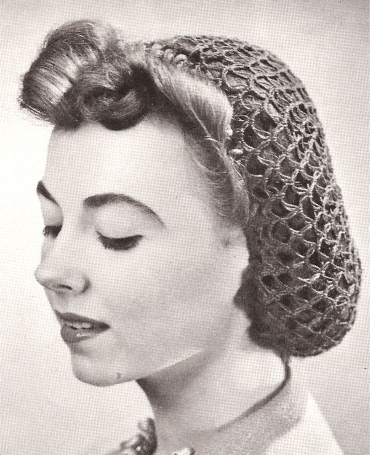 Crochet Hair Net Pattern : Vintage Crochet Snood Hairnet hair net fishnet Pattern Crochet ...