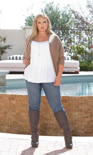 Curvalicious Clothes :: Plus Size Tops :: Layla Cocoon Shrug in Latte