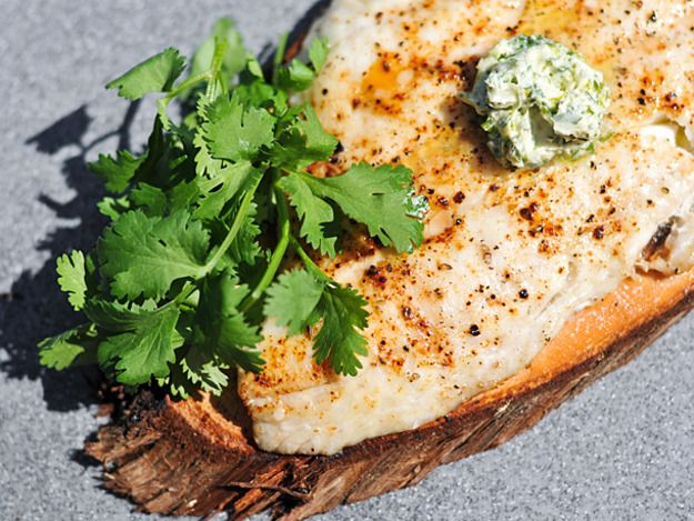 Grilling: Planked Whitefish with Cilantro-Lime Butter