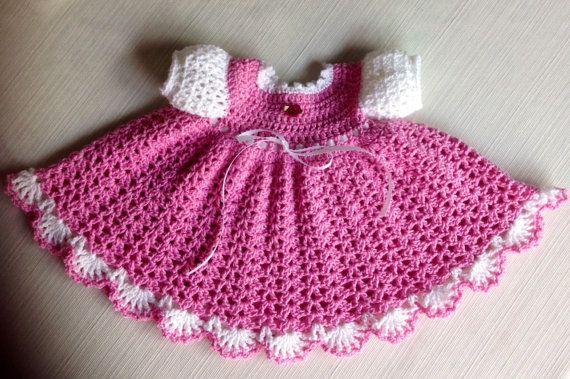 Crochet Patterns For Newborn Dresses : Newborn Crochet Baby Dress PATTERN