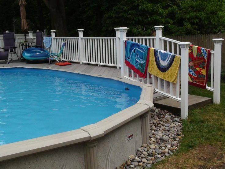 Pool deck olivia pinterest for Above ground pool half decks