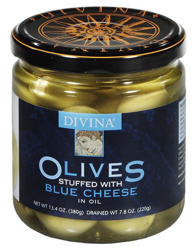 Green Olives Stuffed with Blue Cheese - Divina gourmet olives are ...