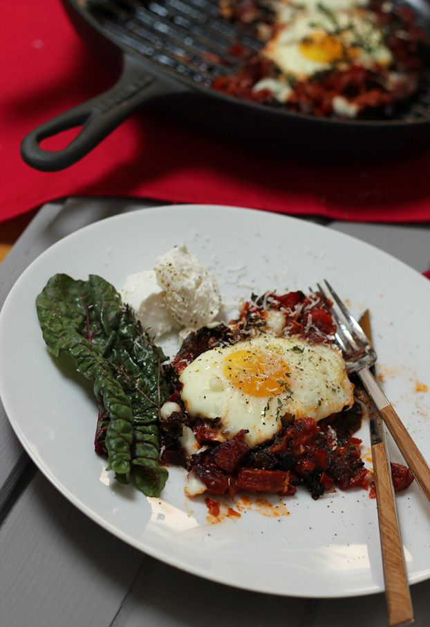 Eggs baked with Swiss Chard and goat cheese