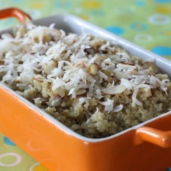 ... coconut milk, and topped with shredded coconut and slivered almonds