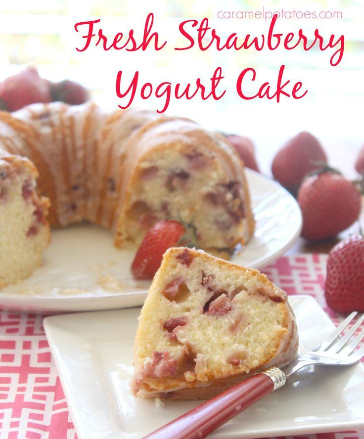 Fresh Strawberry Yogurt Cake - made with Greek Yogurt and fresh ...