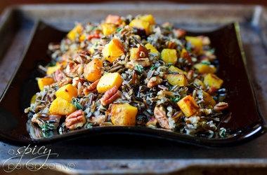 Festive Orange and Black Halloween Rice Dish