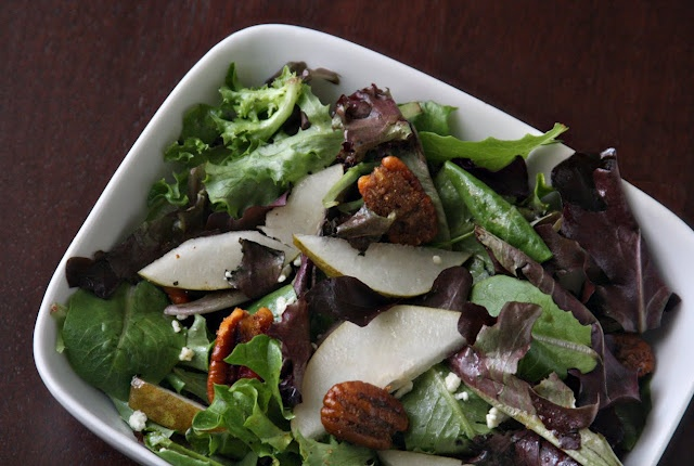 Erin's Food Files » Spiced Pecan Pear Salad with Maple Vinaigrette