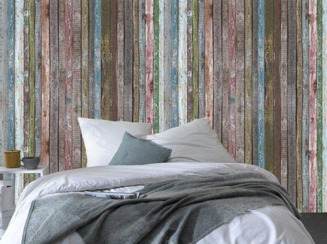 Papier peint bois colore 4 Murs  Deco musings  Pinterest