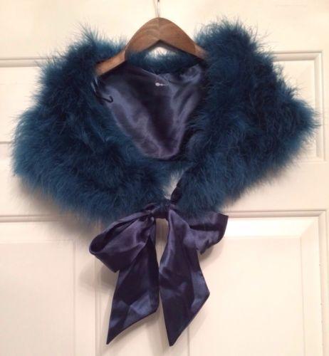 Monsoon accessorize feather shrug shawl collar teal satin bow 7 10 ye