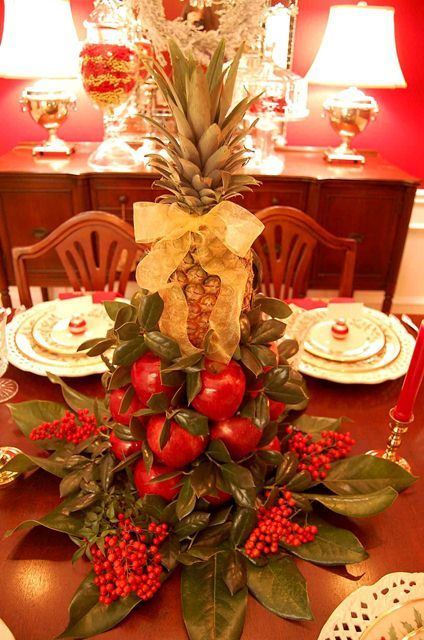Great tutorial on making this apple/pineapple centerpiece