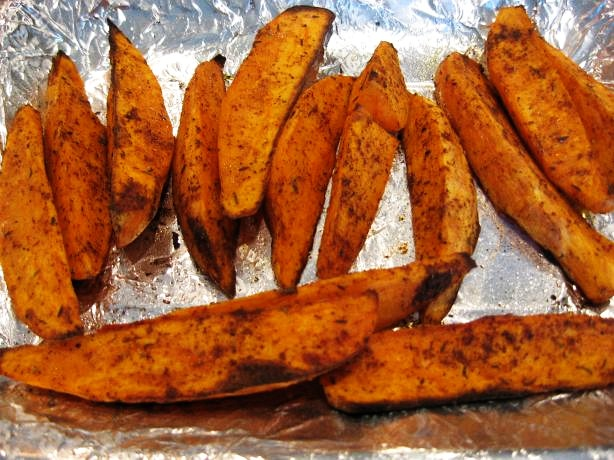 Healthy oven-baked sweet potato wedges. Recipe video: http ...