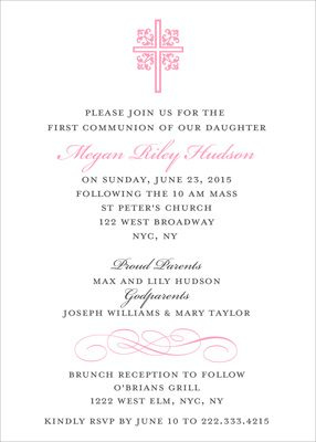 Pink Ornate Scroll Cross Invitations