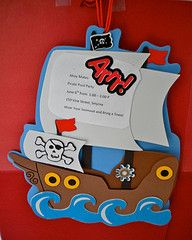 Pirate party invitations are made from a pirate craft kit and hand delivered to guests.