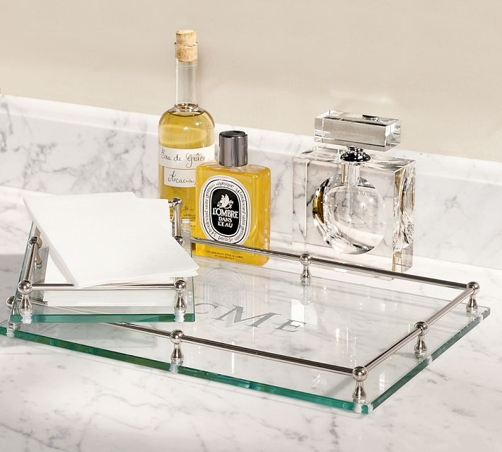 Glass accessories tray with monogram master bath inspiration pint - Bathroom accessories vanity tray ...
