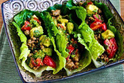 Turkey Lettuce Wrap Tacos with Chiles, Cumin, Cilantro, Lime and Tomato-Avocado Salsa