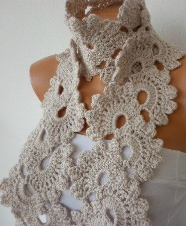 Crochet Queen : Beige Queen Annes Lace Scarf Crochet Scarf Cowl Scarf Gift for Her M ...