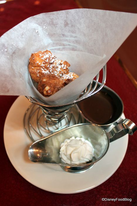 Zeppole with Chocolate Sauce and Whipped Cream