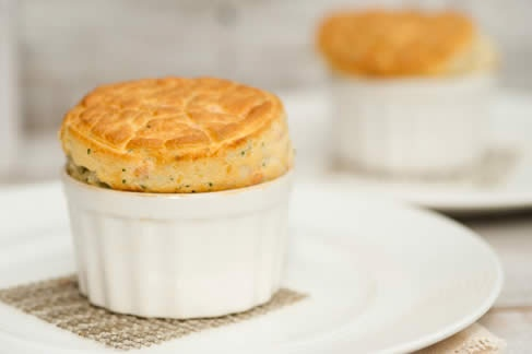 Orkney cheddar cheese soufflé with smoked salmon - Tom Kitchin