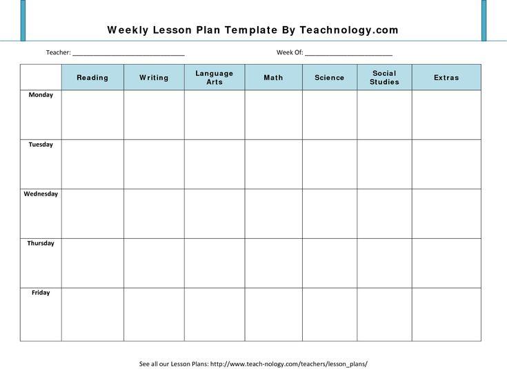 6 Week Lesson Plan Template – Printable Editable Blank