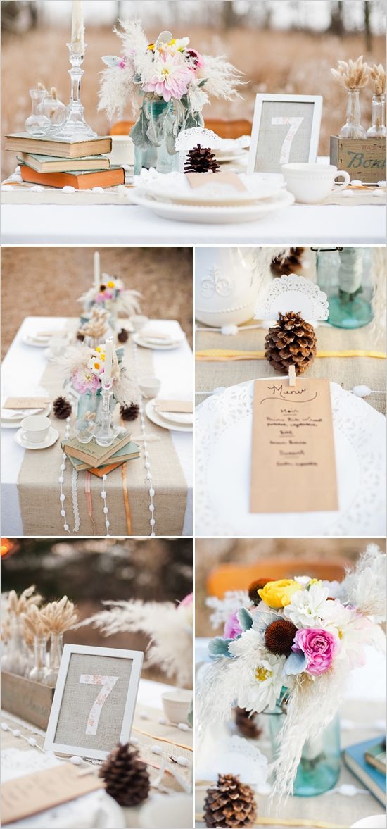Old books for centerpieces, pine cones for the name plates and the dinner menu is clipped to the plate with a clothespin.