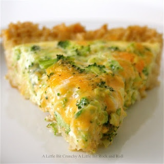 Easy broccoli and cheese quiche -- with a brown rice crust.