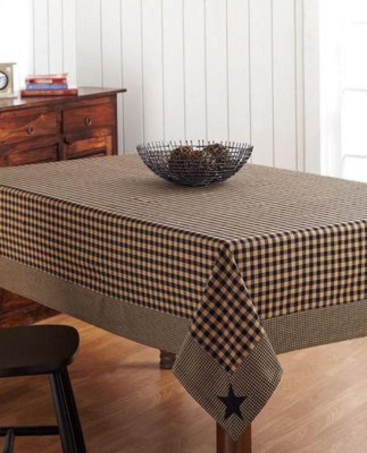 primitive home decor ~Black applique star table cloth 60x 102 ...