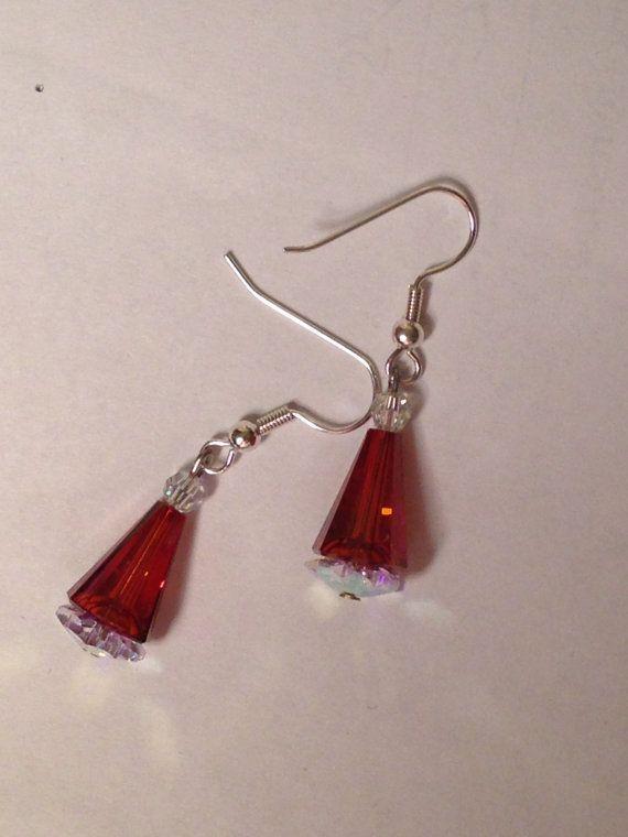 Swarovski Santa Hat earrings by SwarovskiPrincess on Etsy, $18.00
