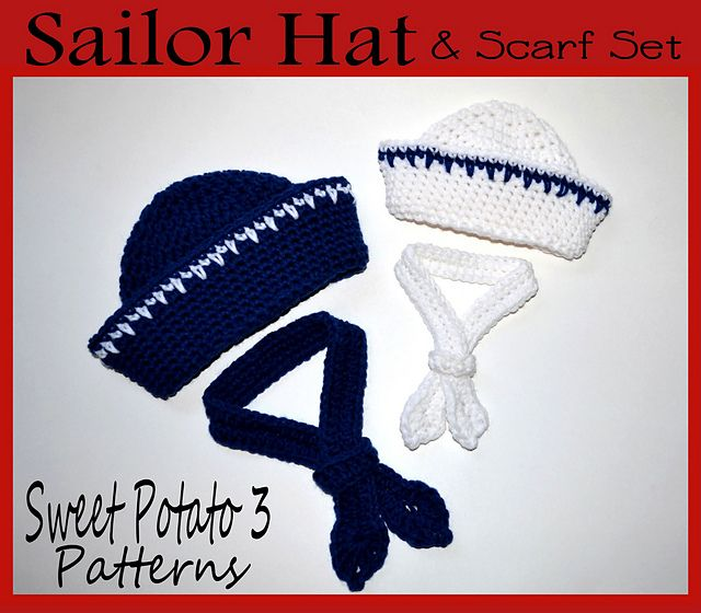 Free Crochet Pattern Newborn Sailor Hat : Sailor Hat and Scarf / Tie pattern by Christins from My ...