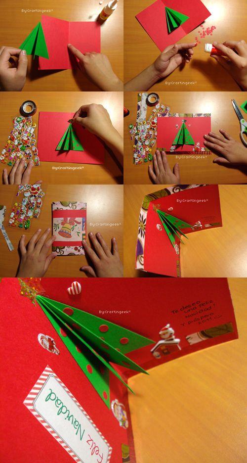 Cómo hacer una sencilla tarjeta para navidad con un arbolito 3D. Más ideas: http://www.craftingeek.me/2011/11/tarjetas-para-navidad-3-estilos-pop-up.html