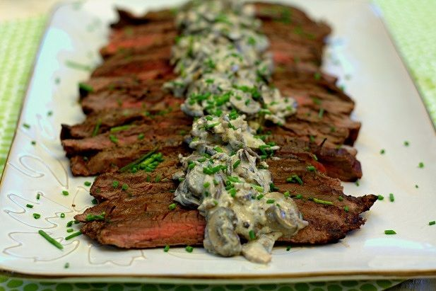 Grilled Flank Steak with Creamy Mushroom Sauce