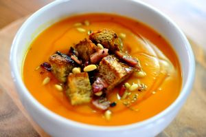 Honey Roasted Butternut Squash Soup with Rosemary and Pine Nut ...