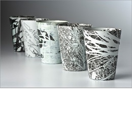 Tamar de Vries Winter.  Tree Cups.  Copper and enamel.