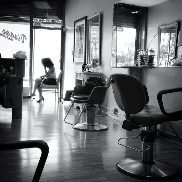 Local hair salon and its proprietor black and white Pinterest