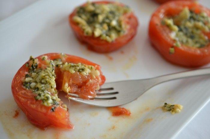Pesto stuffed roast tomatoes | Food and Recipes | Pinterest