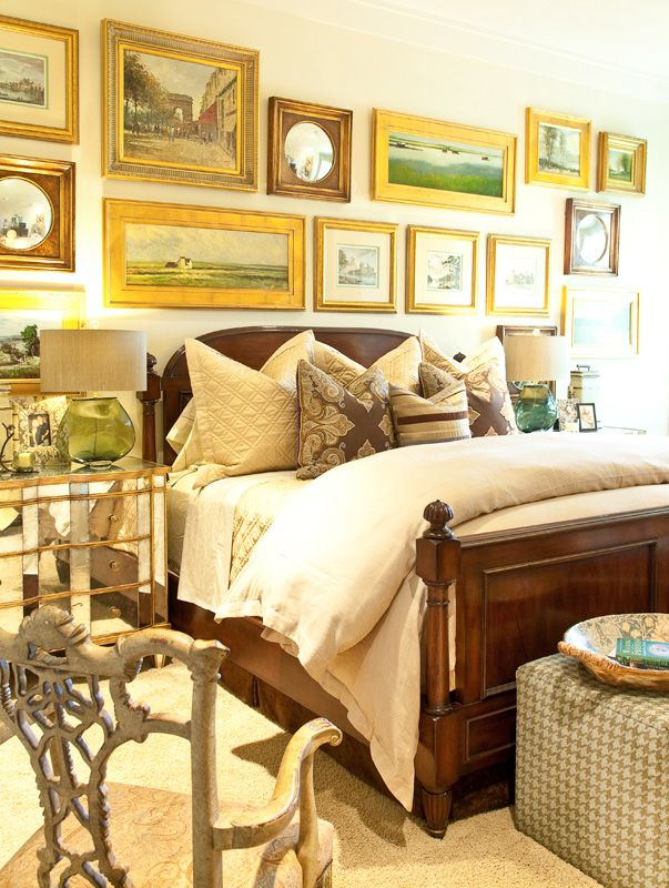 Love the bed and all the framed art  Interiors | Gary Riggs Home