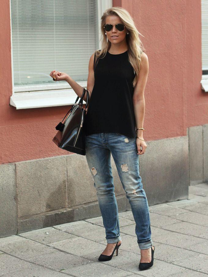 Boyfriend Jeans and Heels | Gussied Up | Pinterest